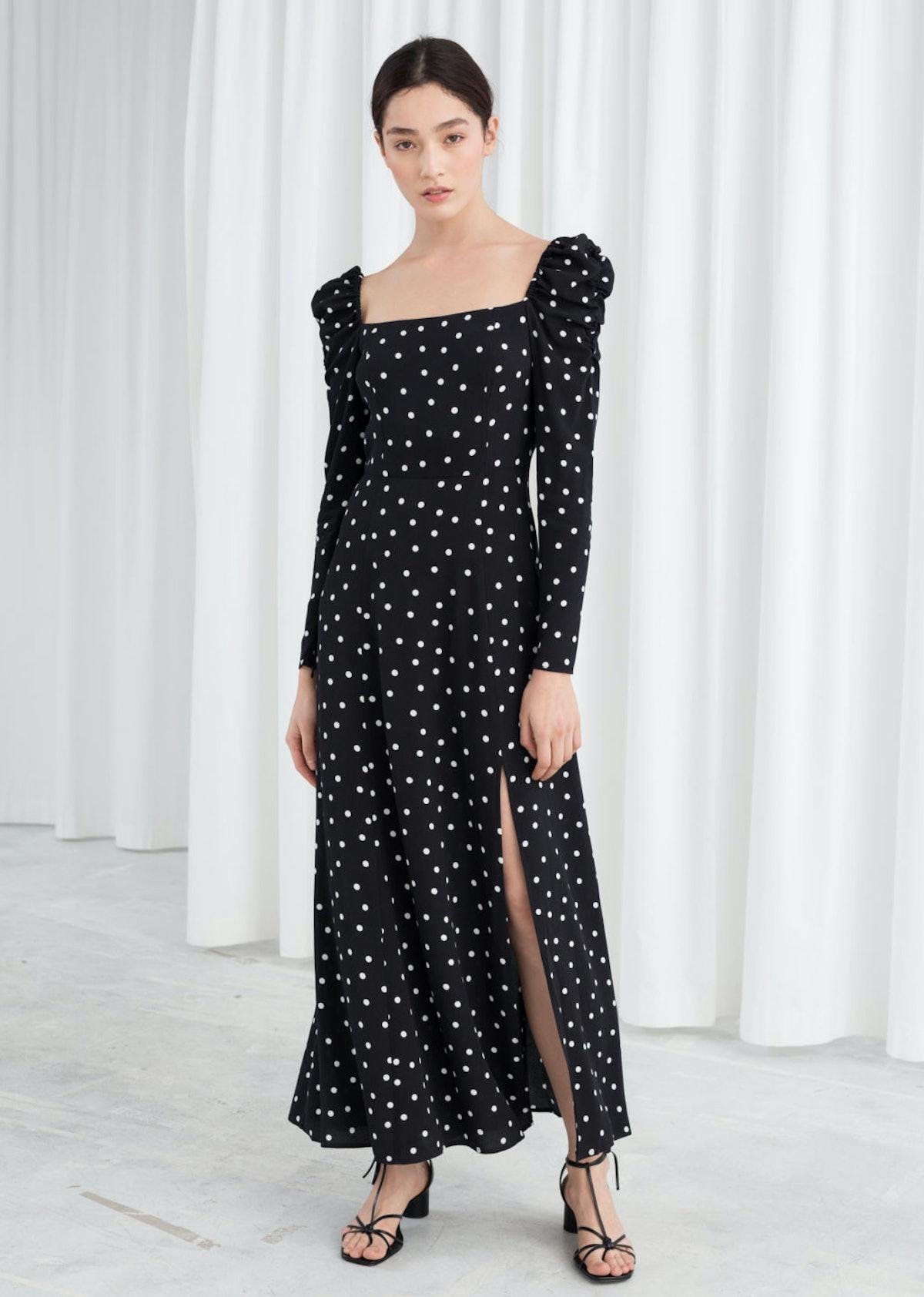 Ruched Polka Dot Maxi Dress