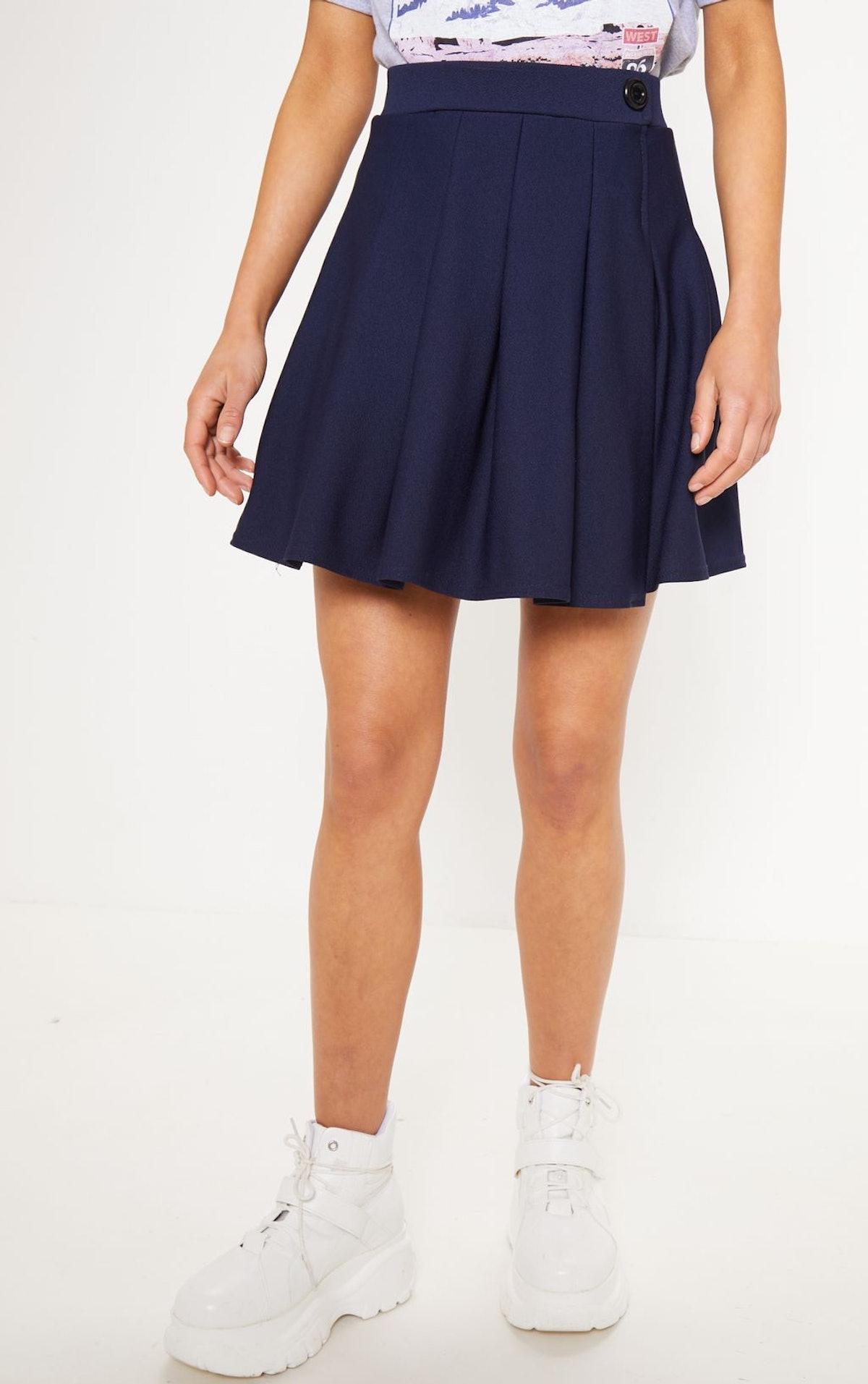 Navy Pleated Tennis Skirt