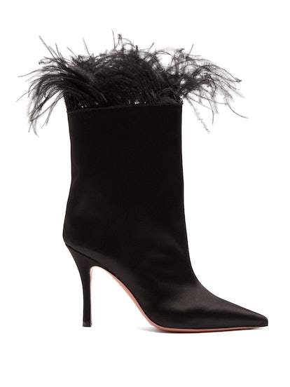 Nakia Feather-Trimmed Satin Ankle Boots