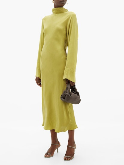 Roll-Neck Silk Midi Dress