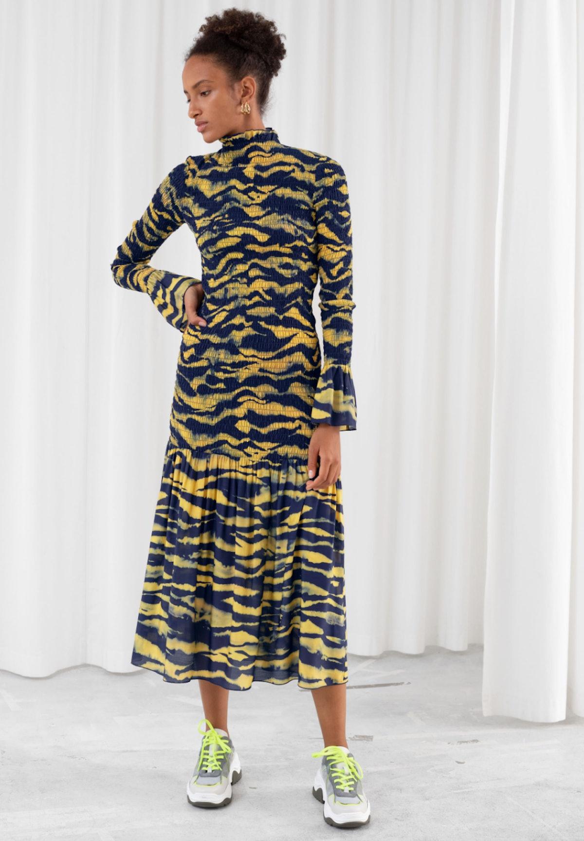 Tiger Smocked Midi Ruffle Dress