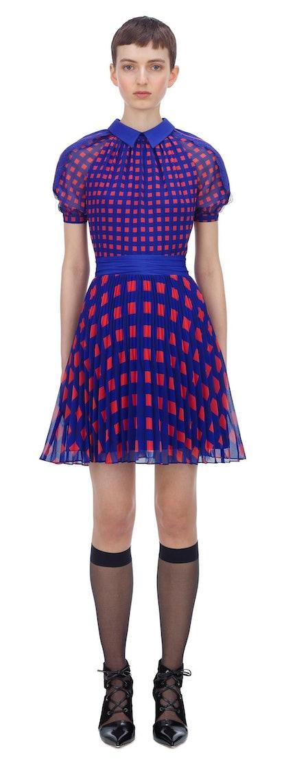 Gingham Printed Chiffon Mini Dress