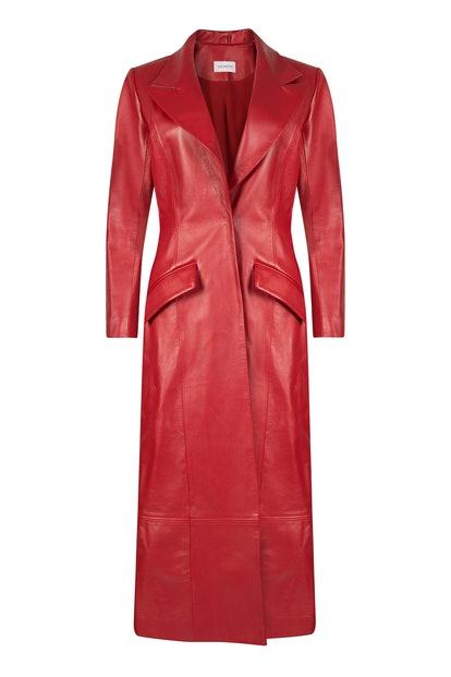 Panelled Leather Coat