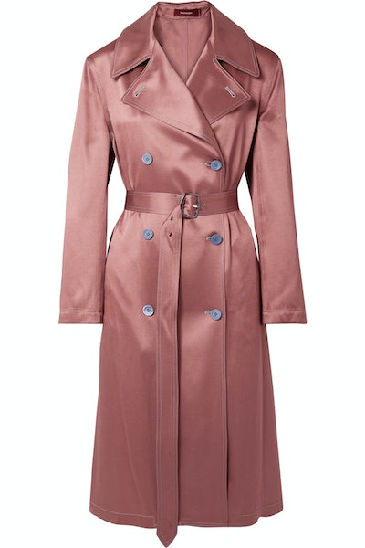 Sigourney Satin-Twill Trench Coat