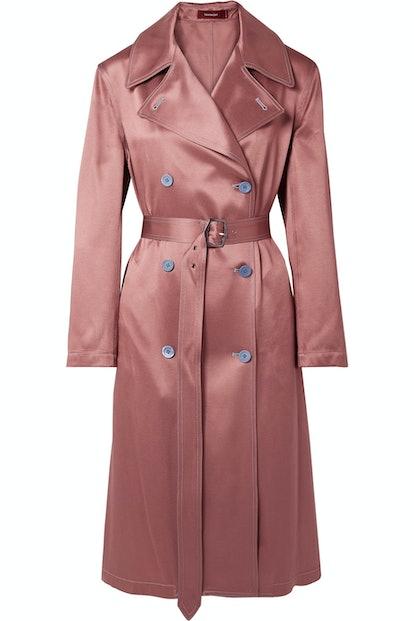 Sigourney Satin-Twill Trench Coat
