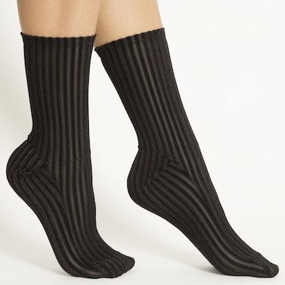 Black Ribbed Velvet Socks