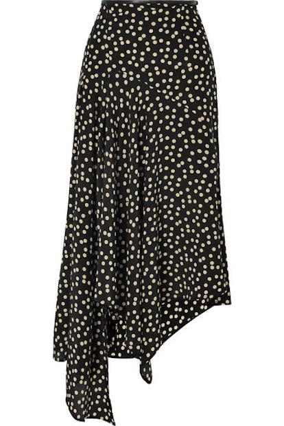 Leather-Trimmed Polka-Dot Silk-Crepe Midi Skirt