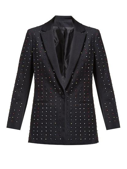 Bead-Embellished Cotton-Blend Blazer