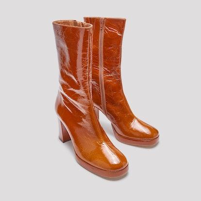 Carlota Walnut Leather Boots