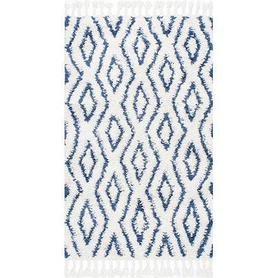Blue Moroccan Diamonds Shag Savanna Area Rug