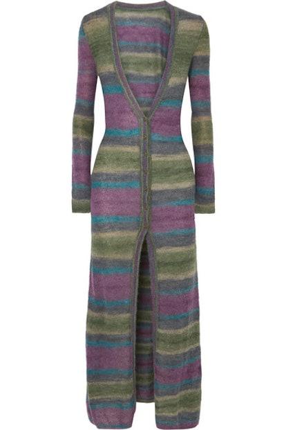 La Robe Gilet Striped Mohair-blend Cardigan