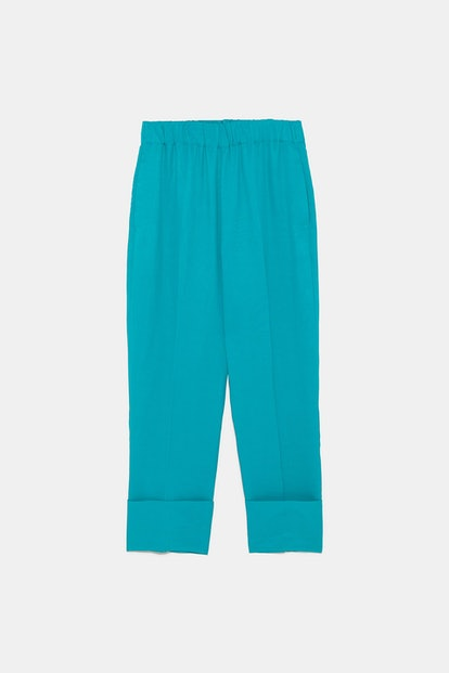 Turquoise Cuffed Pants