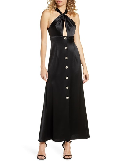 Twisted Halter Button Front Gown