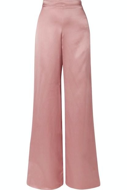 Silk-Satin Wide-Leg Pants