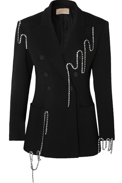 Squiggle Crystal-Embellished Double-Breasted Twill Blazer