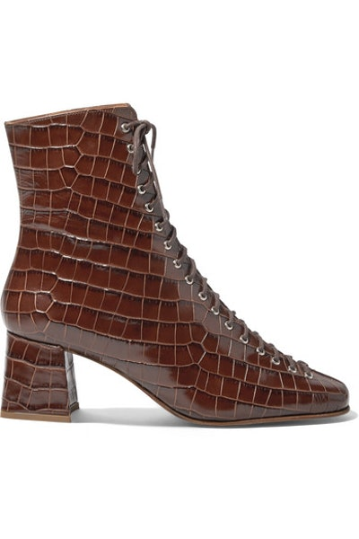 Becca Glossed Croc-Effect Leather Ankle Boots