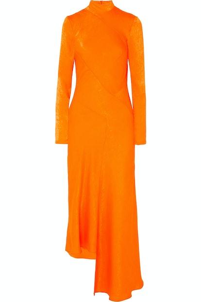 Asymmetric Hammered Satin Dress