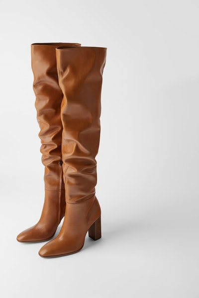 Over-the-Knee High Heel Leather Boots