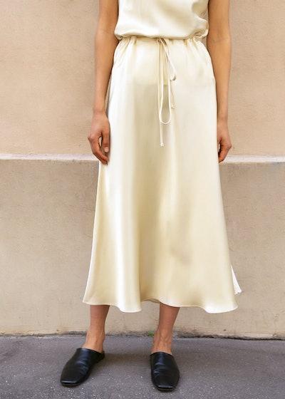 Champagne Silky Midi Skirt