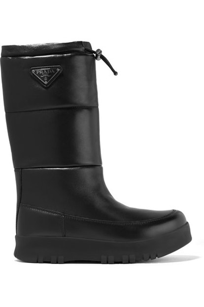 Logo-Appliquéd Quilted Leather Snow Boots