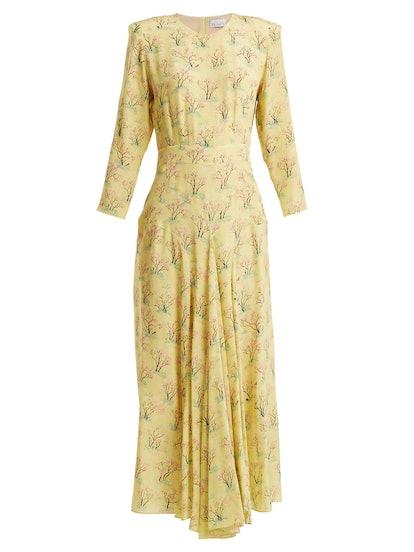 Bracelet-Sleeve Scid Tree-Print Silk Dress