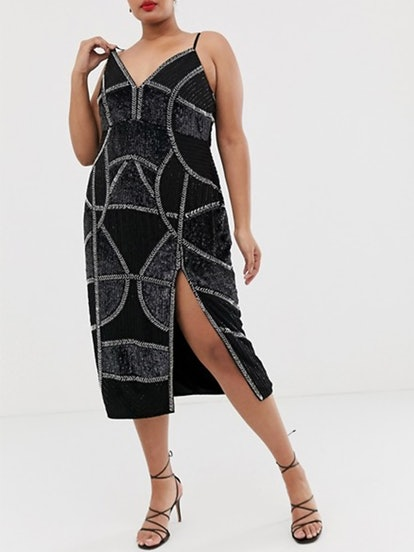 Pencil Midi Dress With Embellished Panels