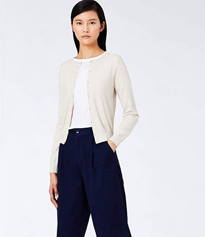 Meraki Lightweight Cotton Crew Neck Cardigan