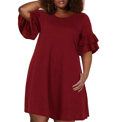 Nemidor Plus Size Ruffle Sleeve Swing Dress