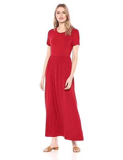 Amazon Essentials Short-Sleeve Waisted Maxi Dress