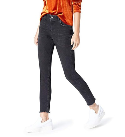 find. High Rise Frayed Hem SkinnyJeans