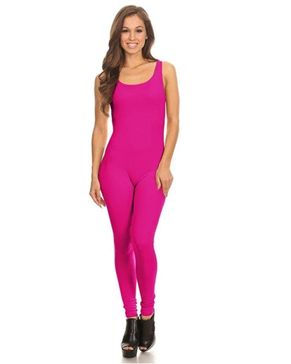 Stretch Cotton Bodysuit Women's Scoop Neck Sleeveless Unitard
