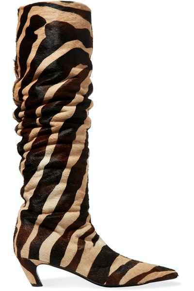 Zebra Haircalf Knee-High Boot