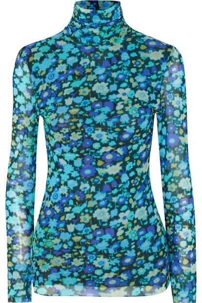 Floral-Print Stretch-Mesh Turtleneck Top