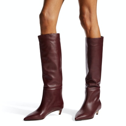 Bordeaux Calf Leather Knee-High Boots