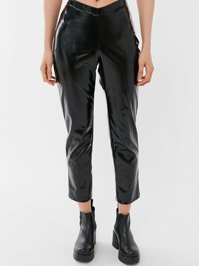 Tex Faux Leather Cropped Straight Leg Pant