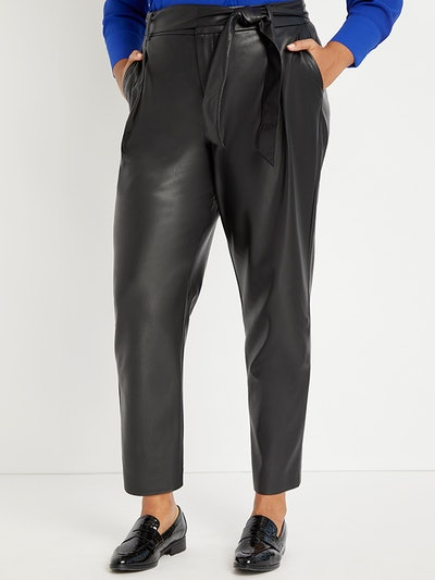 Pleat Front Faux Leather Ankle Pant