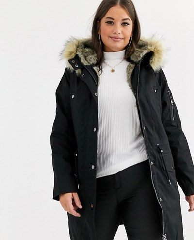 Parka With Detachable Faux Fur Lining