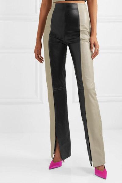 Fonda Two-Tone Leather Bootcut Pants