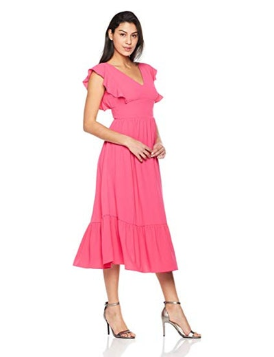 Plumberry Ruffle Midi Dress
