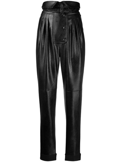 Folded Waist Tapered Leather Trousers