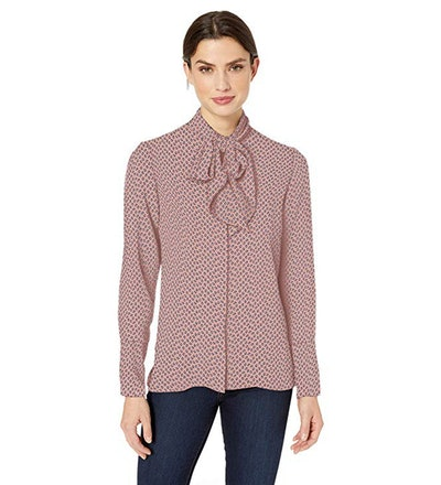 Lark & Ro Long Sleeve Tie Neck Blouse
