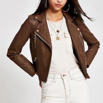 Brown Faux Leather Biker Jacker