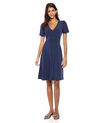 Lark & Ro Classic V-Neck Fit & Flare Dress