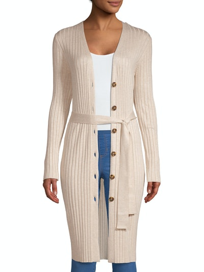 Time and Tru Women's Long Sleeve Button Front Rib Cardigan with Belt
