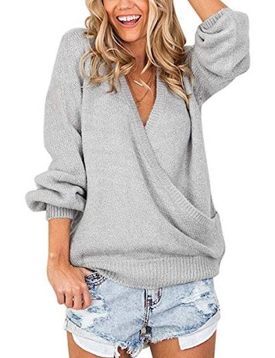 LookbookStore Knit Surplice Sweater