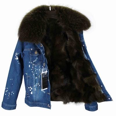Fur-Lined Distressed Dark Denim Jacket