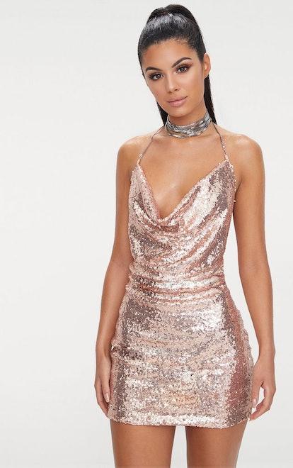 Rose Gold Sequin Chain Choker  Mini Dress