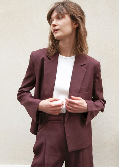 Open-Front Cropped Blazer