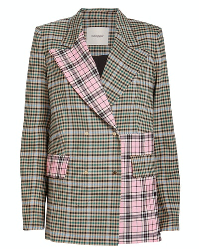 Gurli Contrast Checked Wool Blazer