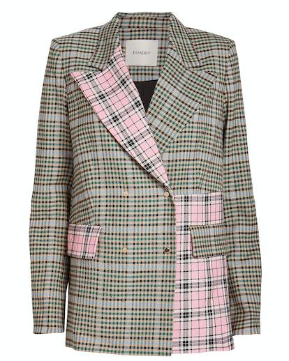 Gurli Contrast Checked Wool Blazer